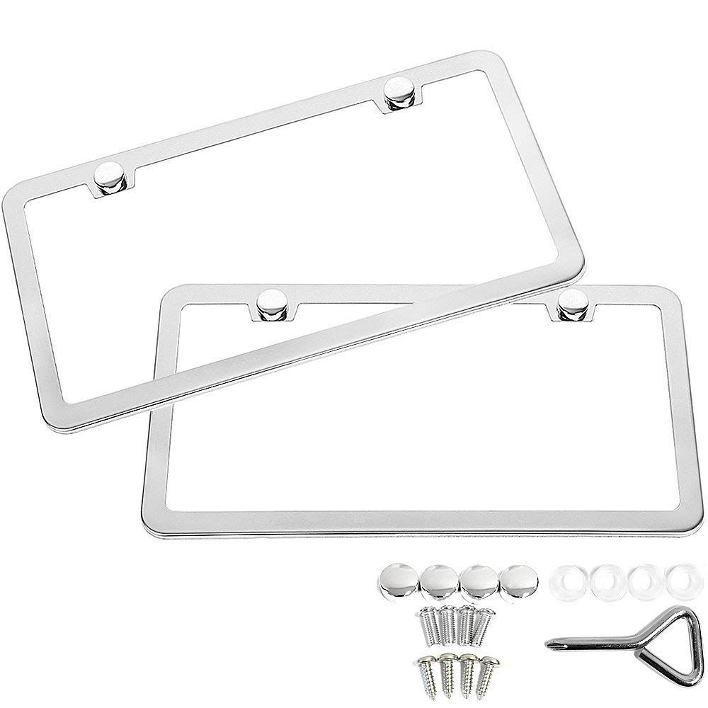 2* CHROME STAINLESS STEEL LICENSE PLATE FRAME TAG COVER SCREW CAP Silver Color