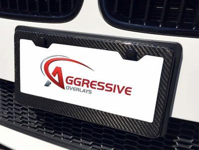 Aggressive Overlays Genuine Carbon Fiber License Plate Frame