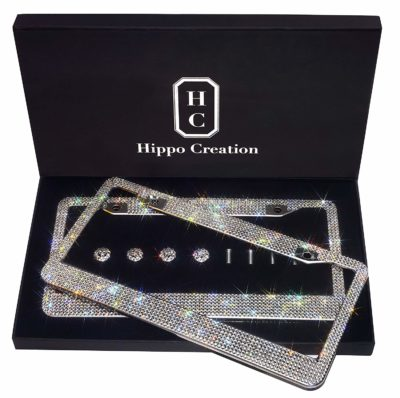 Hippo Creation 2 Pack White Rhinestone Premium Stainless Steel License Plate Frame