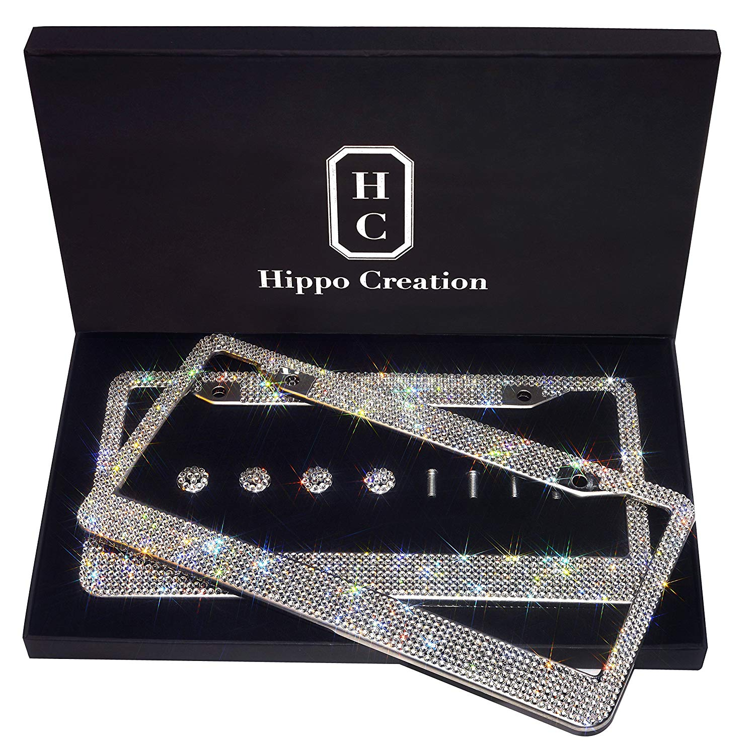 License Plate Covers & Frames Bling License Plate Frame Be Nice to Me I May Be Your Clear Crystal Rhinestone License Plate Cover Waterproof Stainless Steel Vehicle License Plate Frame for US Standard License Plate Covers & Frames
