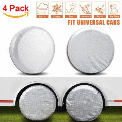 Amfor Set of 4 Tire Covers, Waterproof Aluminium Film Tire Sun Protector