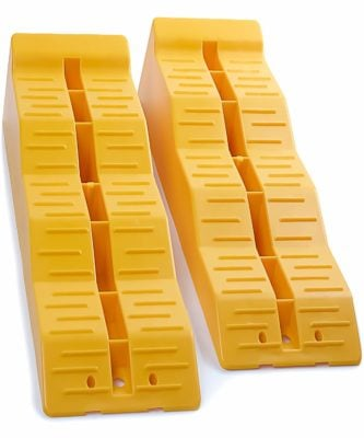 OxGord Leveler Ramp Chock Multi-Leveling Blocks (Pack of 2) for RV and Trailer Wheels
