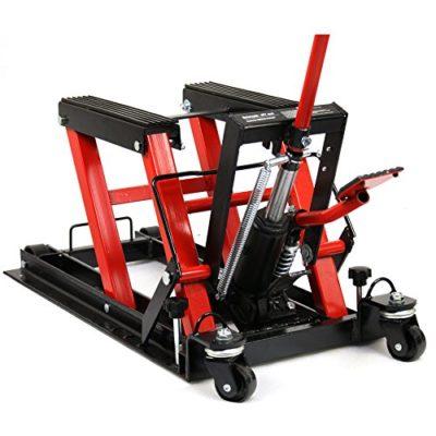 Smartxchoices Red/Black 1500 lbs Motorcycle ATV Hydraulic Scissor Jack Lift