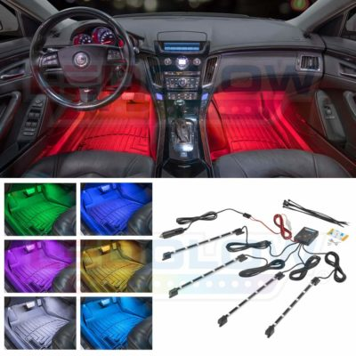 Durable Multi-Color Neon Glow Leds 4 Piece Underdash Music Strips Car Led Strip Lights by Autokraze RGB Interior Light Kit w Easy to Install App from Iphone or Android Devices