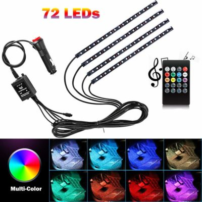 Elgary-US 8 Color RGB 72-LED Multicolor Music Car LED Strip Wireless Remote Control