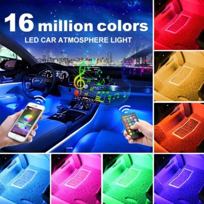 Auxito Car LED Strip Lights, Multi-Colored Music Interior Lights Under Dash Lighting Kit