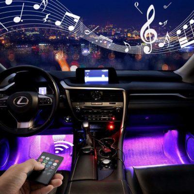 Jawat Car Interior Lights Multicolor Music LED Strip Lights