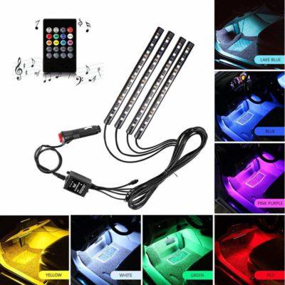 ONEKA-RGB 4pcs 48LED Multicolor Music Car Interior Lights