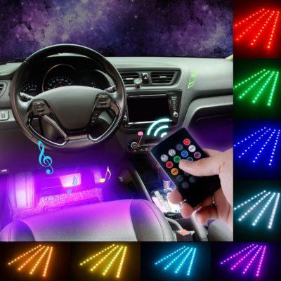 Ditrio 4x12 LED Interior Car Light Bar Multicolor LED Strip