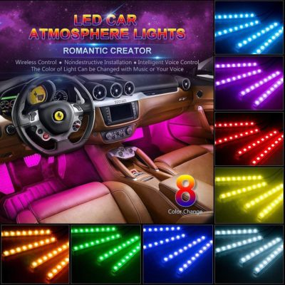 Wsiiroon 4pcs 48 LED Multicolor Music Car Interior Lights Lighting