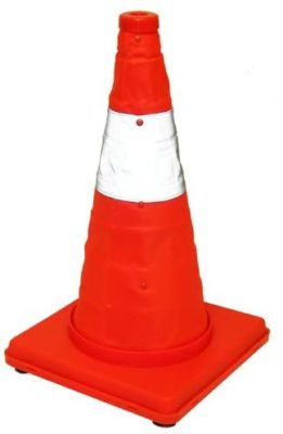 Eurow Reflective Safety Cone with Nighttime LED Lights