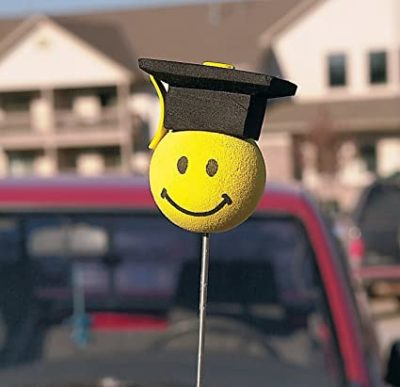 Graduation Smiley Face Car Antenna Topper