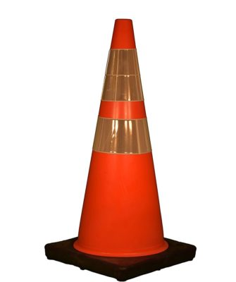 Cortina 03-500-10 Vinyl Traffic Cone with Black Base