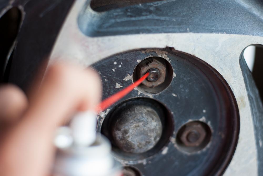 Rusted car wheel nut