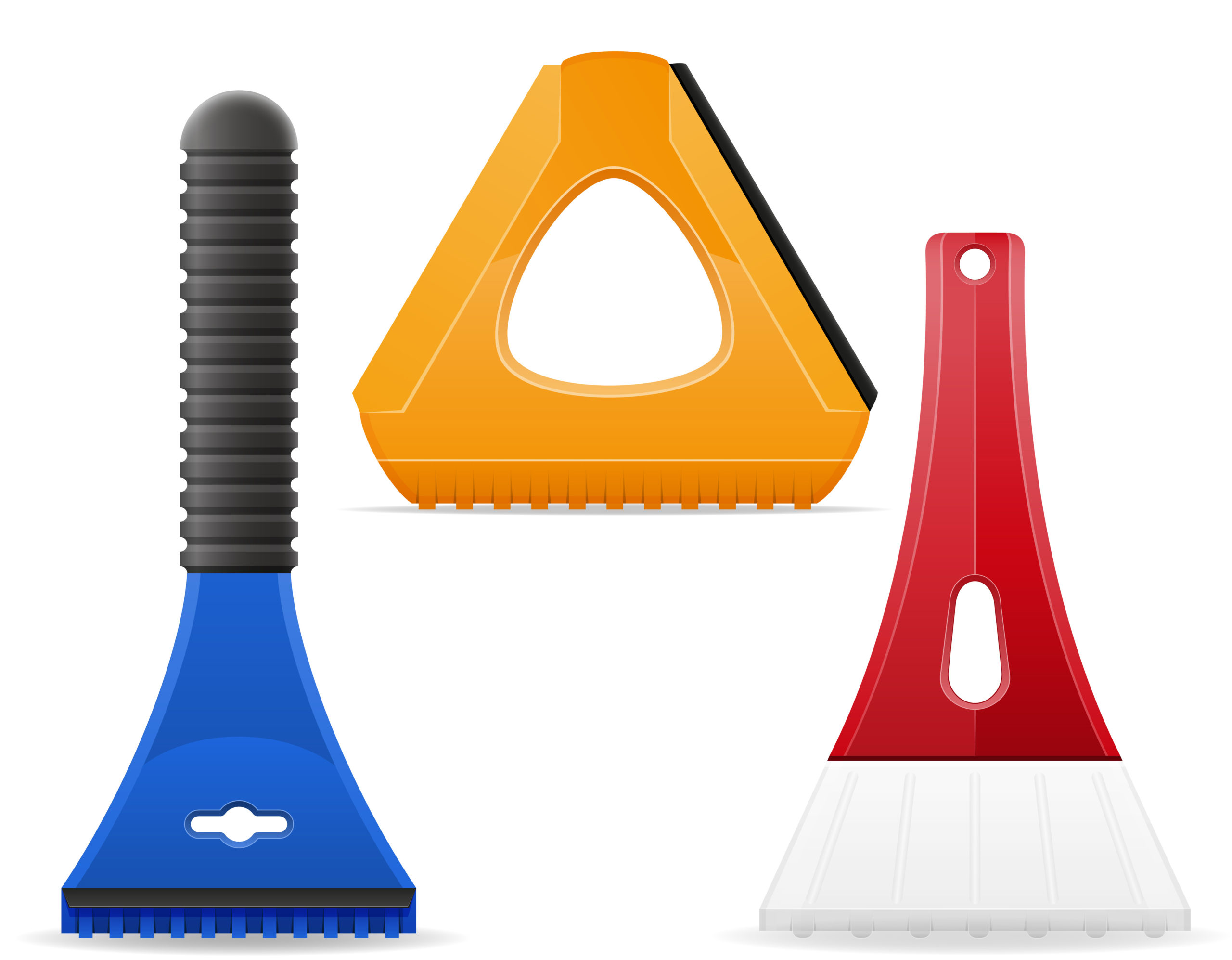 photo of three different ice scrapers, colored blue, yellow and red
