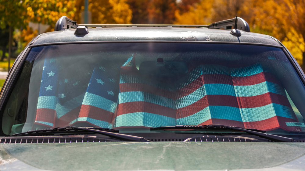 American flag sun shade in car