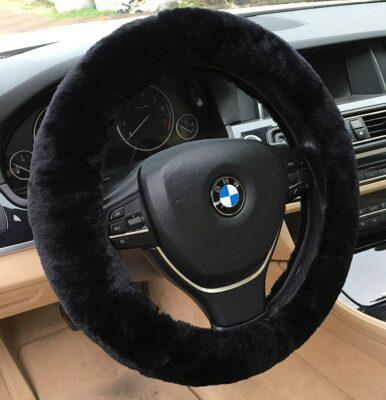 ANDALUS Sheepskin Wool Car Steering Cover