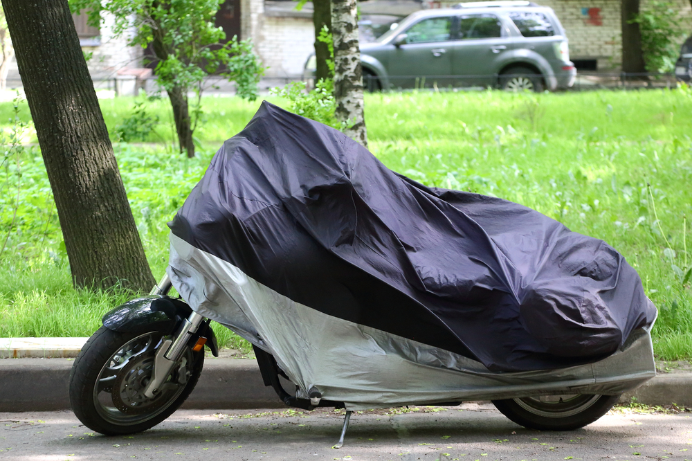 motorcycle with cover