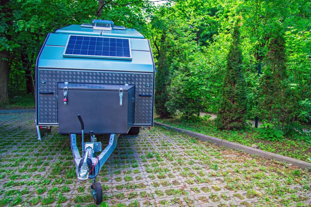 a solar panel on a travel trailer
