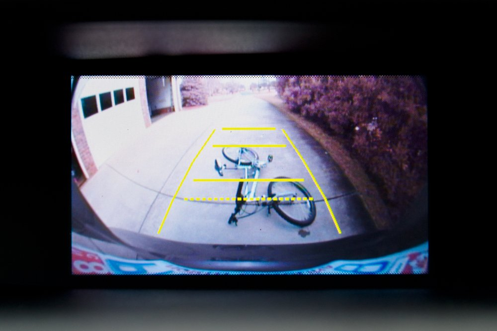 The screen of an RV backup camera