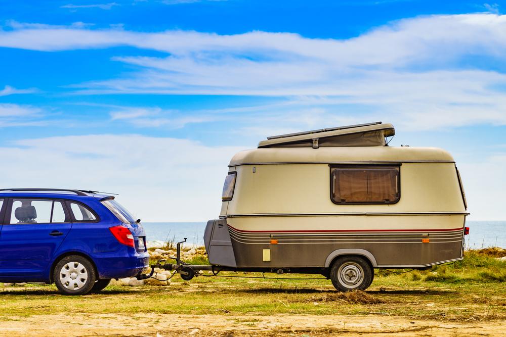 A classic bumper pull hitch camper