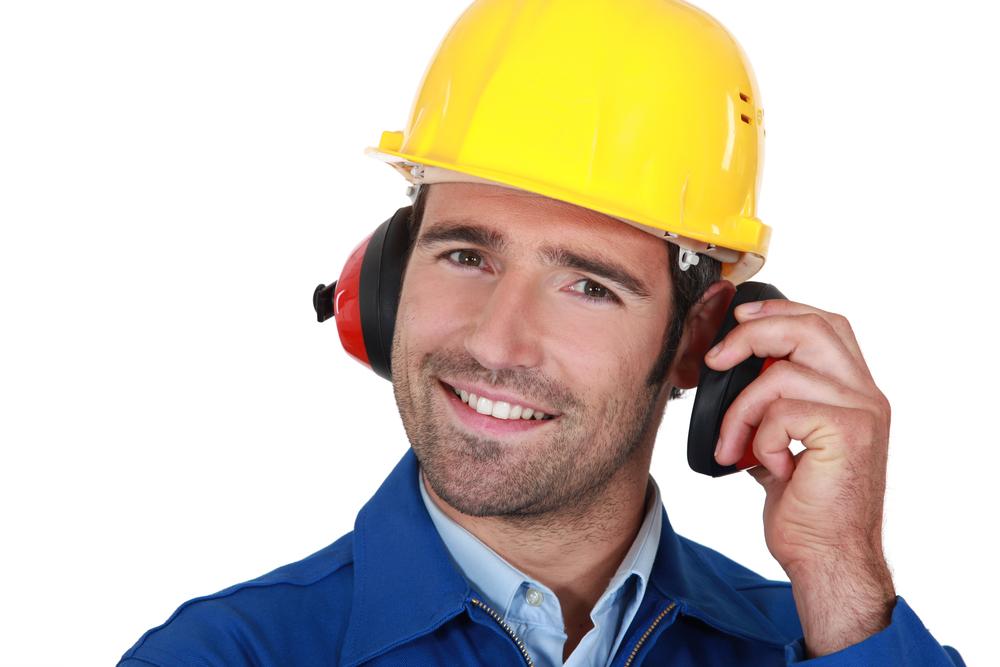man wearing protective earmuffs