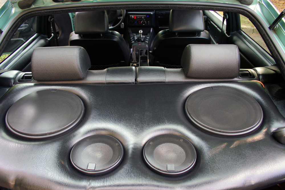 Four installed shallow mount subwoofers