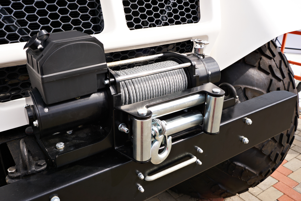 silver steel winch cable on vehicle
