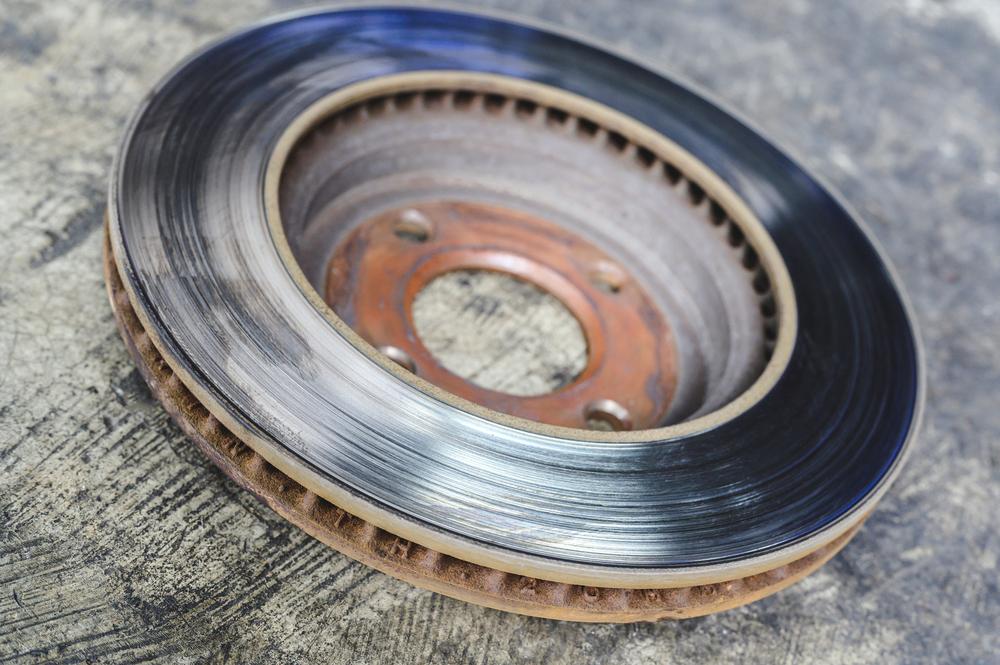a worn brake disc rotor