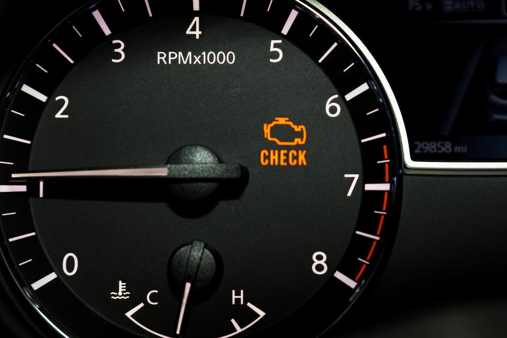 check engine light lit up on speedometer
