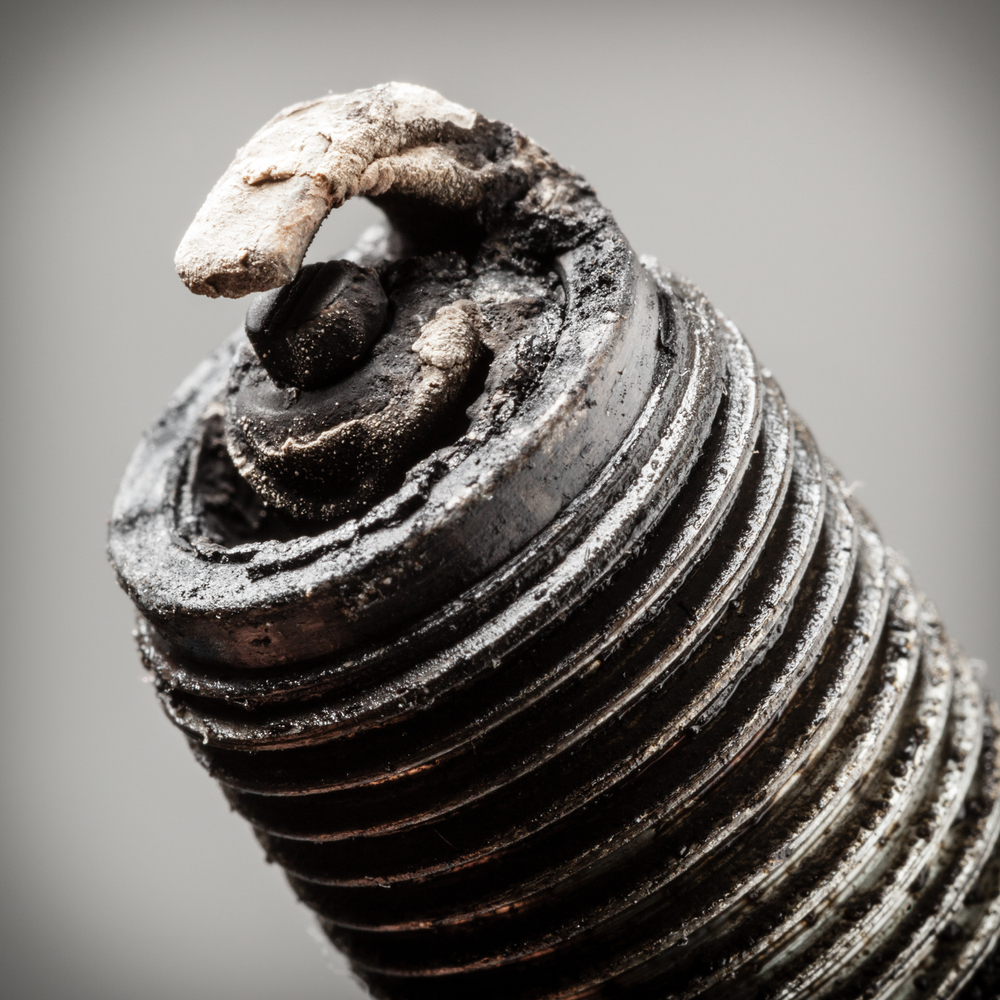 dirty and corroded spark plug