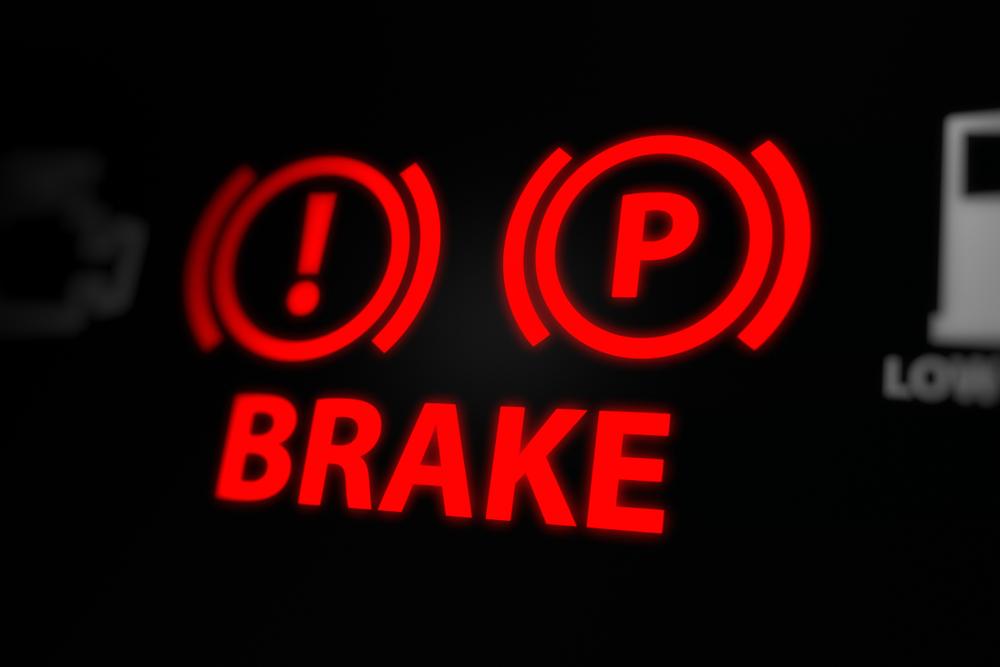red brake warning light on dashboard