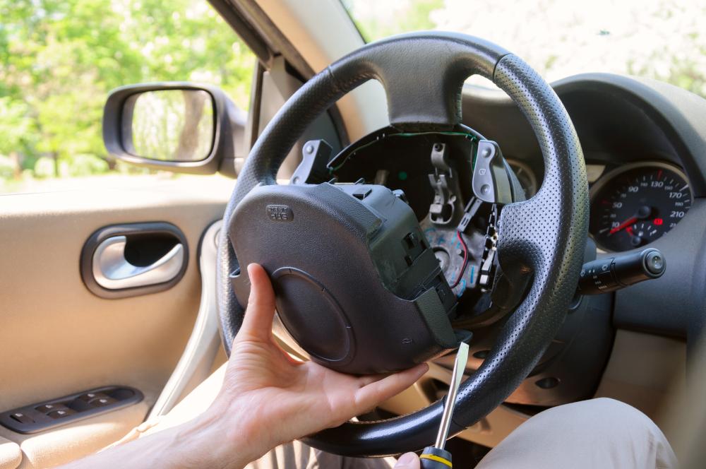 steering wheel being disassembled