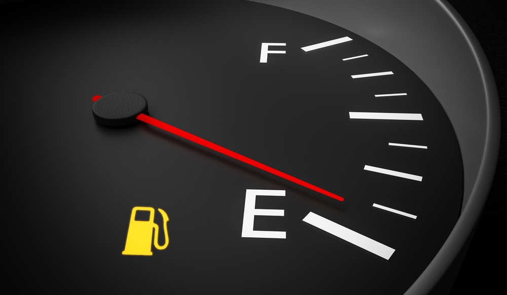 a fuel gauge reading empty