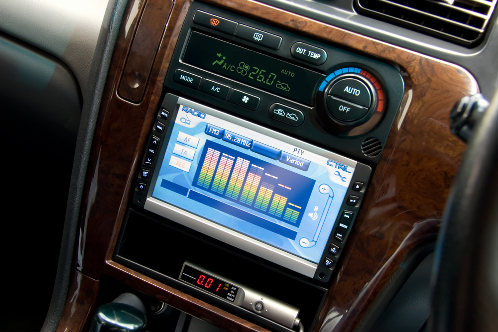 a digital equalizer display on a modern infotainment system