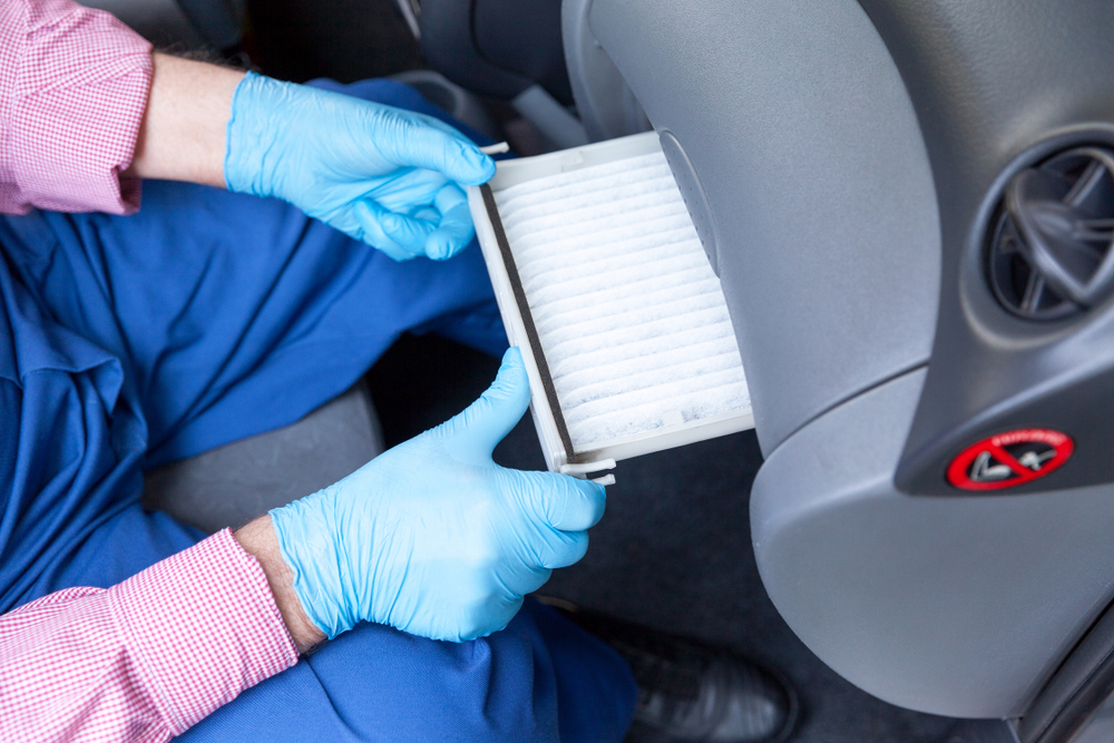 cabin air filter being fitted