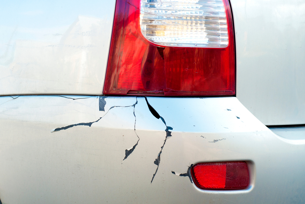 close up of a cracked rear bumper